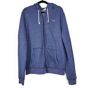 Hollister Men's Blue Zip Up Hoodie Size XL